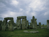 Gray Clouds over the Ancient Ruins of Stonehenge Photographic Print by Joel Sartore