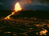 A Blazing Fountain and a River of Lava Pour from a Vent of the Volcano Photographic Print by Robert Madden