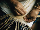 Close View of the Hands of a Hupa Indian Weaving a Basket Photographic Print by Dick Durrance