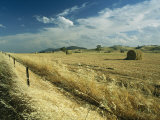 A Hay Field with Bales Sitting under a Cloud-Filled Sky Photographic Print by Medford Taylor