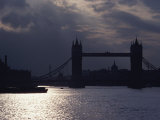 The Recently Renovated Tower Bridge is Nearly Silhouetted against a Cloudy London Sky Photographic Print by O. Louis Mazzatenta