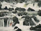 A Kayaker Takes the Last Plunge over a Swift-Flowing Waterfall Photographic Print by Skip Brown
