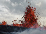 Lava from a Kilauea Sprays High into the Air Photographic Print by William Allen