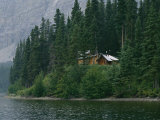 A Traditional Hunting and Fishing Lodge Built on Cli Lake Photographic Print by Raymond Gehman