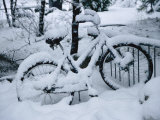 A Snow-Covered Bike Retired for the Winter Stampa fotografica di Moritsch, Marc