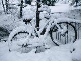 A Snow-Covered Bike Retired for the Winter Lámina fotográfica por Moritsch, Marc