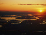 Aerial Sunset of the Suisun Slough, Sacramento Wetlands Photographic Print by Rich Reid