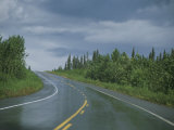 The Alaskan Highway Glistens from Rainfall Near Anchorage, Alaska Photographic Print by Stacy Gold