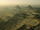 Aerial View of the Pyramids of Giza and Excavation Site Photographic Print by Kenneth Garrett