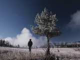 Steam Rises Behind a Man in a Frost-Covered Pocket Basin Field Photographic Print by Raymond Gehman