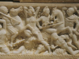 Marble Sarcophagus Depicting Greeks and Amazons, Found at Tell Barak Near Caesarea Photographic Print by Maynard Owen Williams