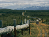A Dirt Road Winds Beside the Alaskan Pipeline Photographic Print by Karen Kasmauski