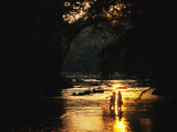 Flyfishing at Dusk Photographic Print by Skip Brown