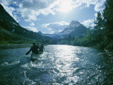 Canoeists on Swiftcurrent Creek Photographic Print by David Boyer