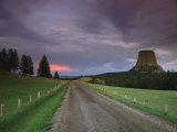 Twilight View down a Dirt Road towards Devils Tower Photographic Print by Bill Hatcher