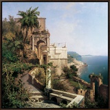 In the Garden, Amalfi Coast Framed Canvas Print by Franz Richard Unterberger