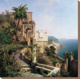 In the Garden, Amalfi Coast Stretched Canvas Print by Franz Richard Unterberger