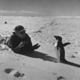 Ornithologist Photographing Native Penguin Photographic Print by Fritz Goro