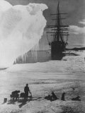 Antarctic Expedition of Robert Scott on Ice with Ship &quot;Terra Nova&quot; Anchored in Background Photographic Print