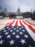 "American Flag Draped over Coffin During ""March on Death"" Organized by New Mobilization Premium Photographic Print by John Olson"