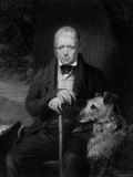 Illustration of Sir Walter Scott, Scottish Novelist and Poet Seated with His Dog Premium Photographic Print