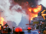 Building Burning During Race Riots in the City Premium Photographic Print by Declan Haun
