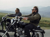 Hell's Angels Riding Motorcycles on Road Photographie par Bill Ray