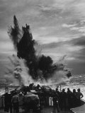 Depth Charge Exploding on Target Behind Coast Guard Cutter Patrolling For German U Boats Premium Photographic Print
