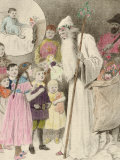 Illustration of Nicolo and the Krampus, Showing a Saint Nicholas Giving Presents to Children, Photographic Print