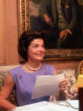 First Lady Jacqueline Kennedy Looking over Some Papers at the White House Premium Photographic Print by Ed Clark
