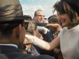 First Lady Jacqueline Kennedy with Husband Greeting Crowds at Airport During Campaign Tour of Texas Premium Photographic Print by Art Rickerby