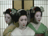 Maiko Posing in a Maikosan House Where They Work Premium Photographic Print by Ted Thai