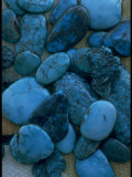 Close Up of Polished Turquoise Stones Used by Native Americans in Manufacture of Jewelry Photographic Print by Michael Mauney