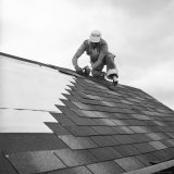 Roofer Working in Levittown Photographic Print by Tony Linck