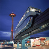 Monorail at Century 21, Seattle World's Fair. Space Needle in Background Photographic Print by Ralph Crane