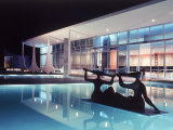 Architect Oscar Niemeyer's Presidential Swimming Pool in Brasilia at Night Photographic Print by Dmitri Kessel