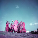 Northern Indian Tribe of Banjara Folk Dancers Performing Somewhere in Hyderabad Photographic Print by Jack Birns