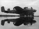 British Ground Crew of the RAF Servicing an American Made B-25 Mitchell Bomber Premium Photographic Print