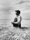 Farmer Posing in His Wheat Field Photographic Print by Ed Clark