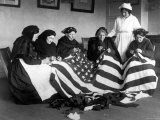 Patriotic Old Female Immigrants Sewing an American Flag under Supervision of Instructor Rose Radin Premium Photographic Print
