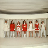 Models Wearing Red and White Ready to Wear Fashions Designed by Andre Courreges Photographic Print by Bill Ray