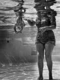 World's Youngest Swimmer Julie Sheldon, 9 Weeks Old, Swimming Underwater Premium Photographic Print by Ed Clark