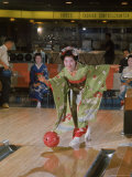 Apprentice Geisha Bowling Premium Photographic Print by Larry Burrows