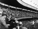 Crowd Attending a New York Yankee Baseball Game at Yankee Stadium Premium Photographic Print