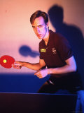 Amateur Olympic Table Tennis Player Sean O'Neill Practicing Premium Photographic Print by Ted Thai