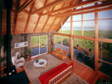 Interior View of a Prefabricated House on Block Island Taken from the Sleeping Loft Premium Photographic Print by John Zimmerman