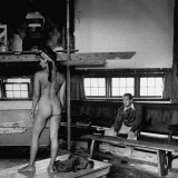 Male Student Sketching Nude Female Model During Life Class at Skowhegan Art School Photographic Print by Eliot Elisofon