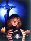Zena, Psychic and Tarot Card Reader Peering Into Her Crystal Ball, Greenwich Village Premium Photographic Print by Ted Thai
