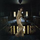 Model Wearing Gold Beaded Sheath Gown by Designer Helen Rose Photographic Print by Gordon Parks