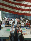 Children Pledging Allegiance to the Flag in a NYC Public Elementary School Premium Photographic Print by Ted Thai